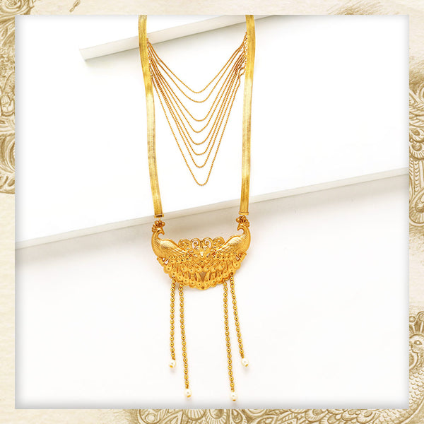 GOLD TONED PEACOCK LAYERED NECKLACE WITH PEARL ENDED TASSELS