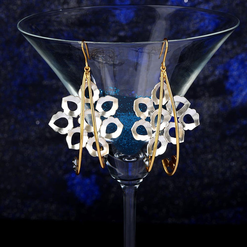 Mixed Metal Peacock Plume Drop Earrings With Chatons