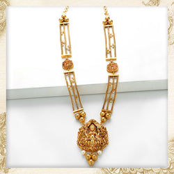 Gold Toned Triple Chain Long Necklace With Lakshmi Pendants