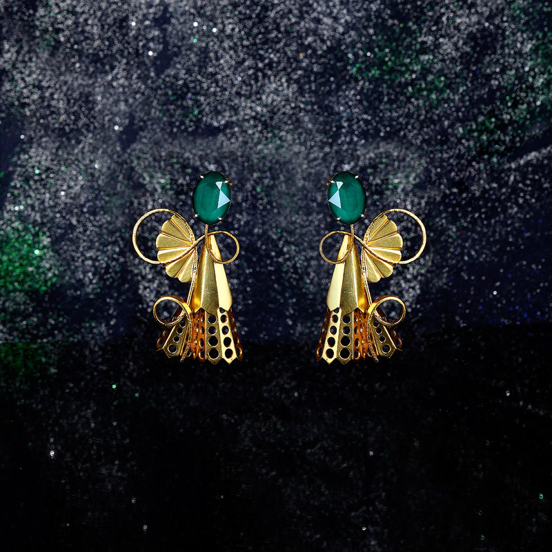 Gold Toned Vine Earrings With Perforated Pleats & Royal Green Swarovski Crystals