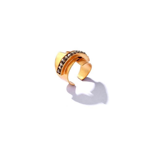 Gold Toned Adjustable Finger Ring With Pyrite Bead Details