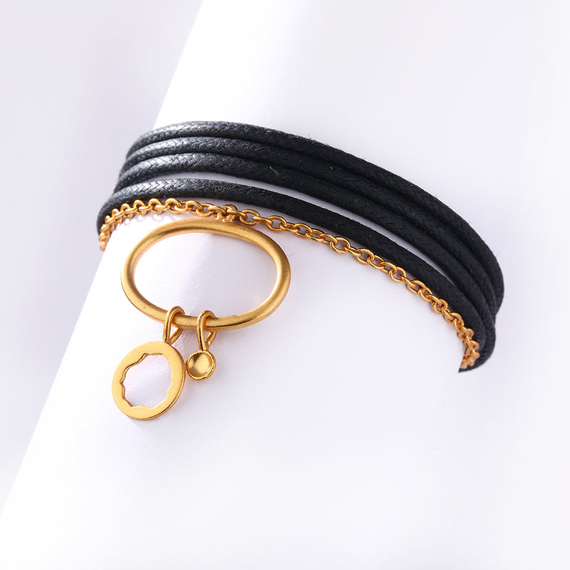 GOLD PLATED 1 LINE CHAIN AND 4 LINE BLACK CORD BRACELET WITH OVAL WIRE RING AND CHARM HANGING