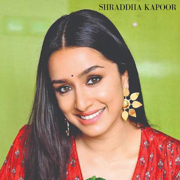 Etched Rose Earrings worn by Sonam Kapoor and Shraddha Kapoor