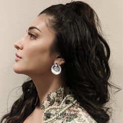 Oxidised Silver Coin Circular Studs with Crystals Worn By Shruthi Haasan