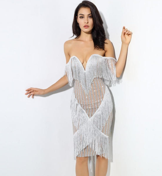 Ariana Silver Fringe Party Dress