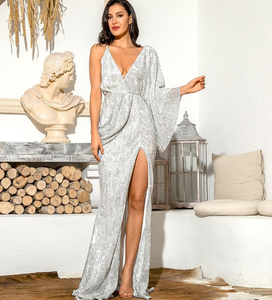 Priyanka Sexy Silver Beauty Bat Sleeves Party Dress