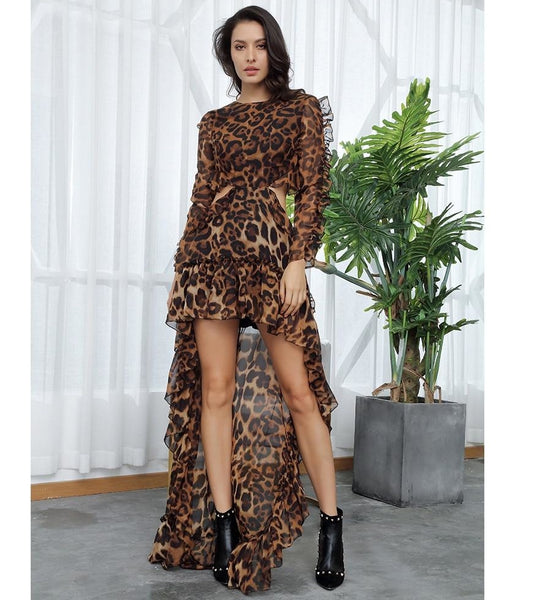 Sexy Cut Out Brown Leopard Print Chiffon Dress