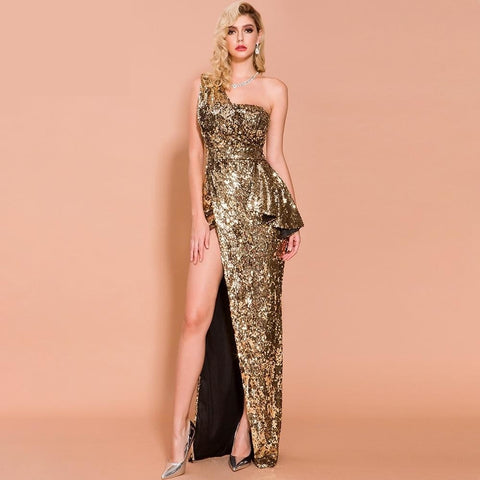Treasure One Shoulder Sequin High Slit Gown