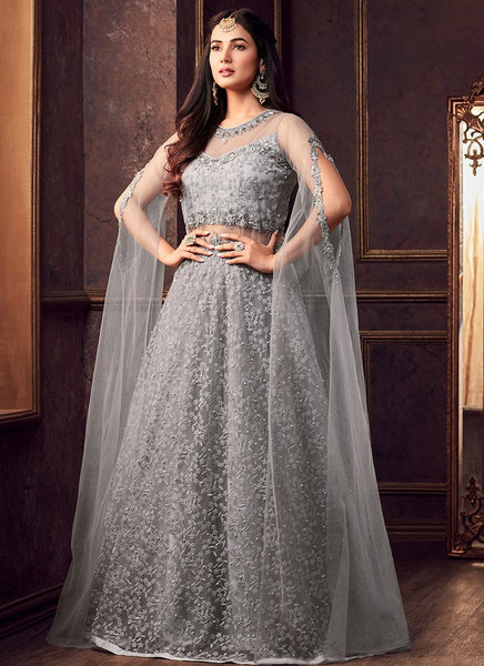 Grey Heavy Embroidered Lehenga Style Anarkali With Cape Sleeves Zingfy