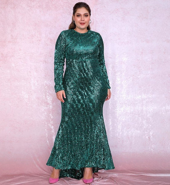 Sexy Plus Size Green Sequin Party Dress