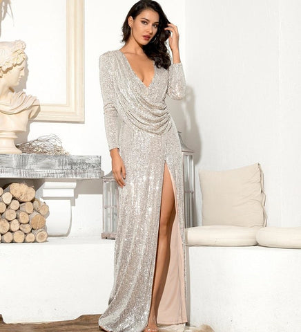 Kareena Style Silver Sexy Deep V-Neck Draped Sequin Bodycon Party Dress
