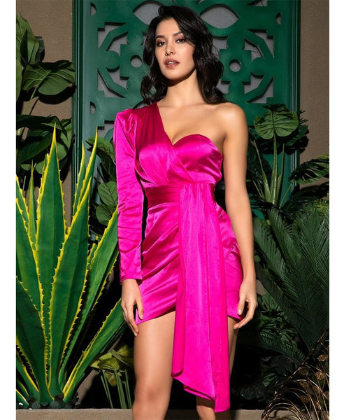 Hot Pink One-Shoulder Bodycon Dress