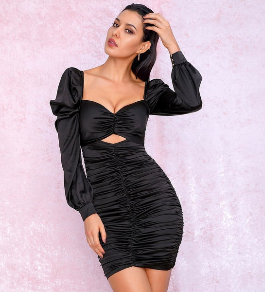 Black Sweetheart Puff Sleeves Bodycon Party Dress