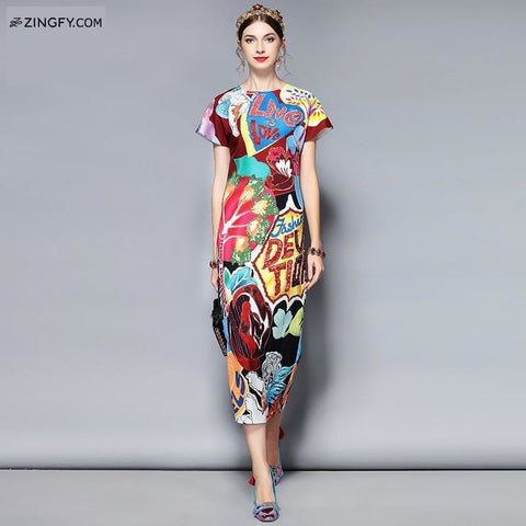 Fashion Bomb Gorgeous Crystal Letter Printed Midi Dress