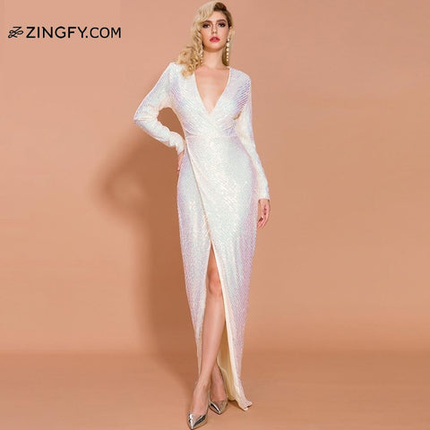 Sexy Plunged V-Neck Full Sleeves Long Sequin Dress