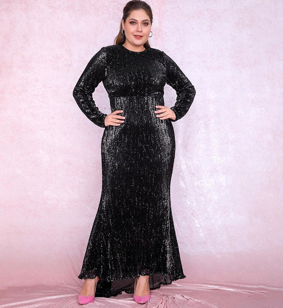 Sexy Plus Size Black Sequin Party Dress