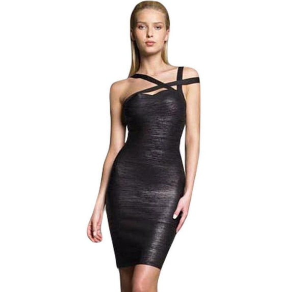 Metallic Black Cross Spaghetti Strap Sexy Bandage Dress