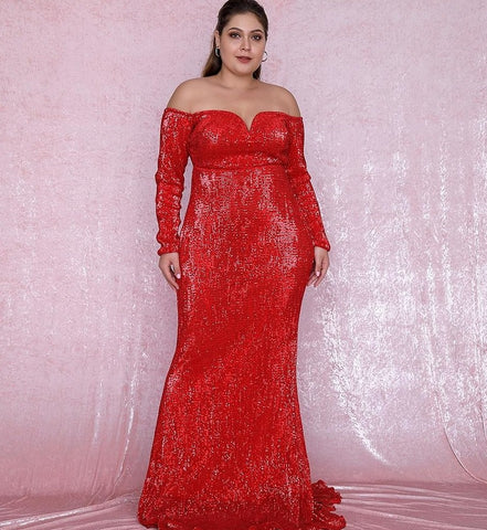 Plus Size Sweetheart Red Sequin Party Dress
