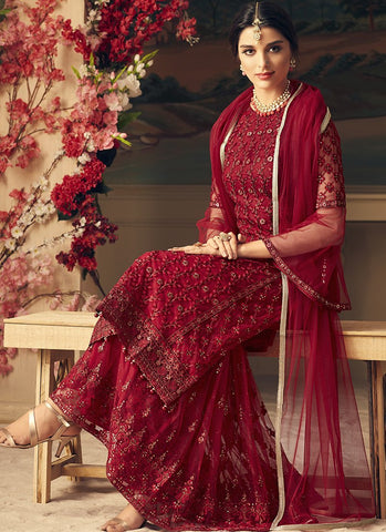 Red Thread Embroidered Gharara Style Salwar Kameez