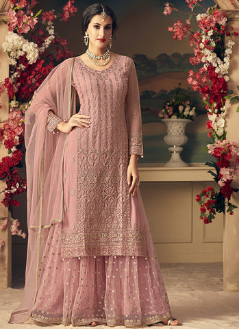 Light Pink Embroidered Sharara Style Salwar Kameez