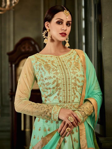Sea Green Silk Embroidered Anarkali Suit