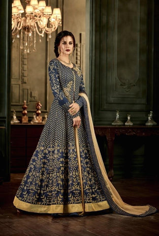 Navy Mulberry Silk Embroidered Anarkali Suit