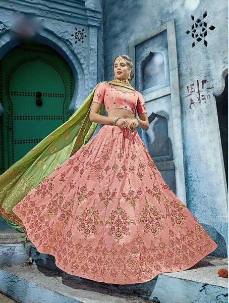 Baby Pink and Green Silk Lehenga