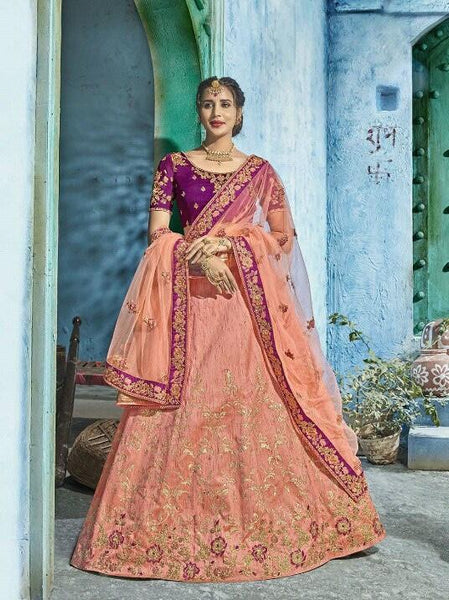 Purple and Peach Silk Lehenga