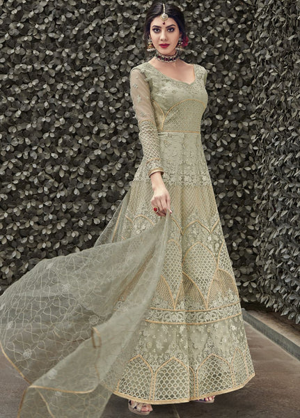 Pastel Green Wedding Wear Anarkali Style Salwar Kameez