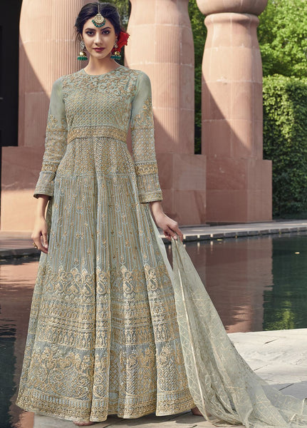 Sky Blue Wedding Wear Anarkali Style Salwar Kameez