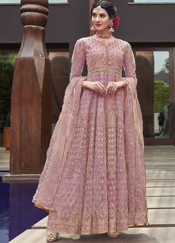 Pink Wedding Wear Anarkali Style Salwar Kameez