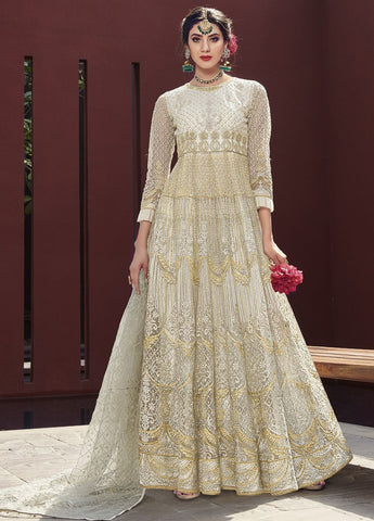 White Wedding Wear Anarkali Style Salwar Kameez
