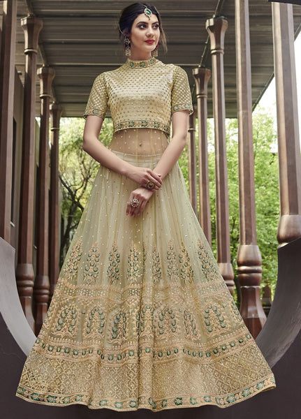 Gorgeous Golden Wedding Wear Lehenga Style Salwar Kameez