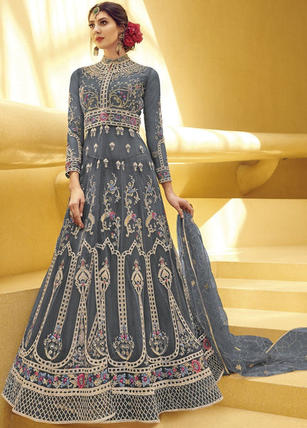 Dazzling Grey Party Wear Anarkali Style Salwar Kameez
