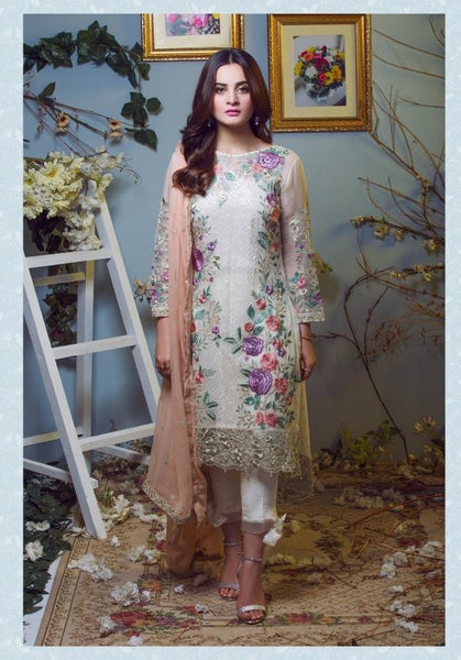 Replica - Imorzia Pale Yellow Floral Party Wear Pakistani Suit