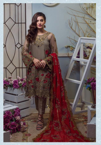 Replica - Imrozia Olive and Red Party Wear Pakistani Suit