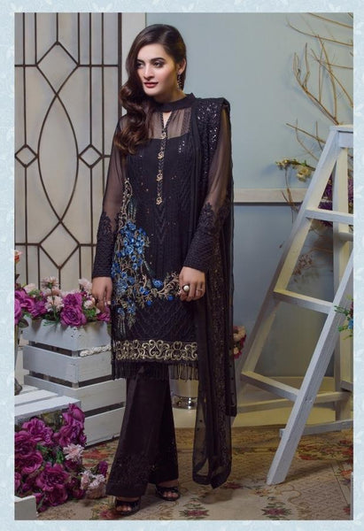Replica - Imrozia Black Party Wear Pakistani Suit