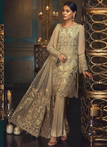Replica - Pale Yellow Heavy Embroidered Party Wear Pakistani Suit