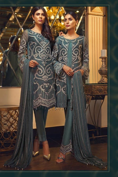 Replica - Teal Blue Heavy Embroidered Party Wear Pakistani Suit