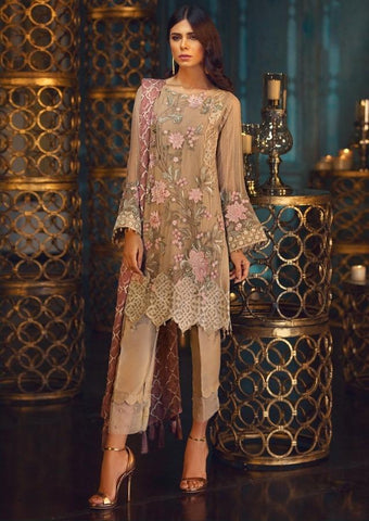 Replica - Pale Peach and Pink Heavy Embroidered Party Wear Pakistani Suit