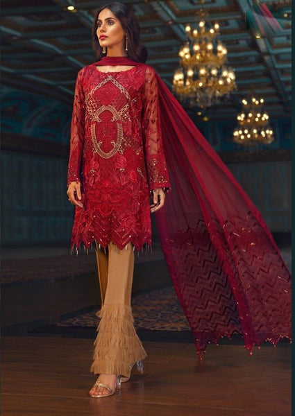 Replica - Red and Beige Heavy Embroidered Party Wear Pakistani Suit