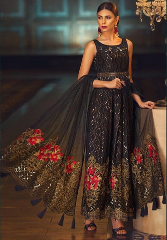 Replica - Black Floral Heavy Embroidered Party Wear Pakistani Suit