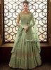 Mint Green Embroidered Anarkali Style Salwar Kameez