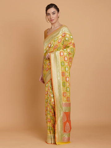 Gorgeous Yellow Hue Zari Pure Khaddi Georgette Banarasi Saree