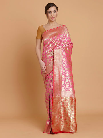 Pink and Gold Zari Upada Silk Handloom Saree
