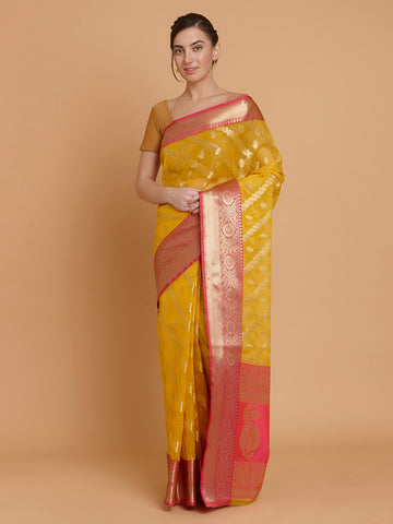 Yellow Organza Silk Handloom Saree