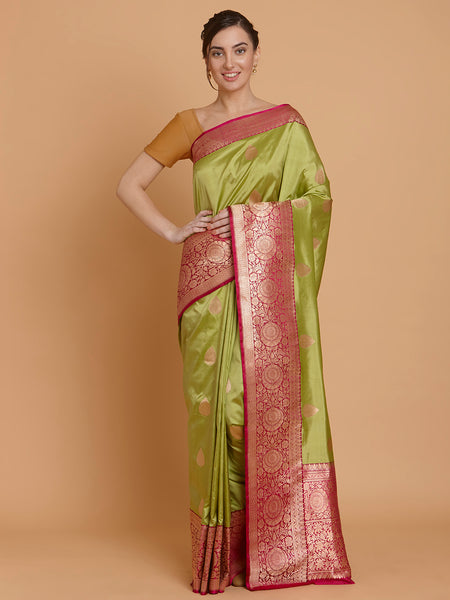 Pink and Green Zari Pure Katan Silk Banarasi Saree