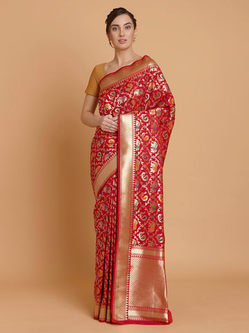 Pinkish Peacock and Elephant Pattern Katan Silk Handloom Saree