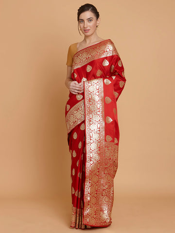 Red Banarasi Katan Silk Handloom Saree