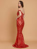 Elegant Off Shoulder Red Baroque Sequin Floor Length Gown